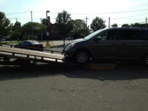car stuck tow ramp